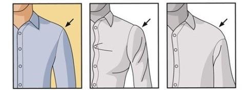 c59f4cc014 As costuras dos ombros da sua camisa devem chegar até a borda dos ombros.  Se eles terminam antes de seus ombros (você pode ver a costura do ombro  subir em ...